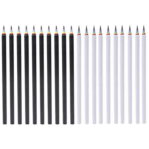 Shulaner 20 Stück Regenbogen Bleistifte Schule Schreiben Zeichnung Bleistifte, Schwarz und Weiß Pencil