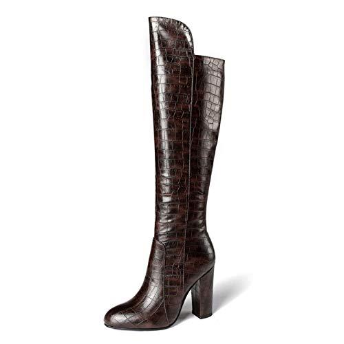 NMBD Fashion Boots Damen Stiletto Heels Stiefel, Damen Rundholz Chunky-Ferse Seite Reißverschluss Hohe Stiefel, Steinmuster PU Frauenstiefel (Farbe: 1, Größe: 38 EU) (Color : 3, Size : 40 EU)