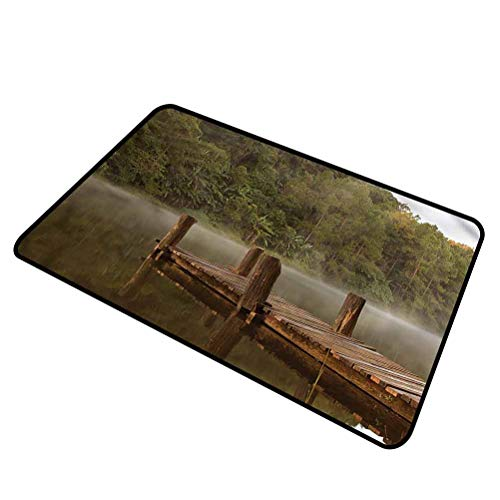 DESPKON-HOME Landscape, Floor Mat Pier in Lake Trees Forest Indoor Outdoor Rug 100% All Natural Fibers - Eco-Friendly 18x30 Inch