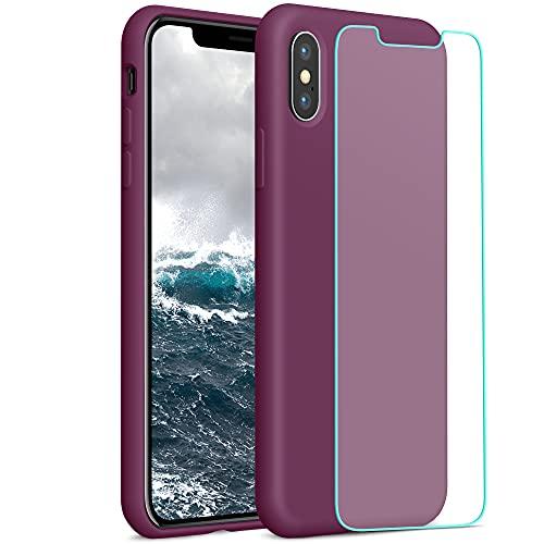 YATWIN Compatibile con Cover iPhone X 5,8'', Compatibile con Cover iPhone XS Silicone Liquido + Vetro Temperato, Protezione Completa del Corpo con Fodera in Microfibra, Vino Rosso
