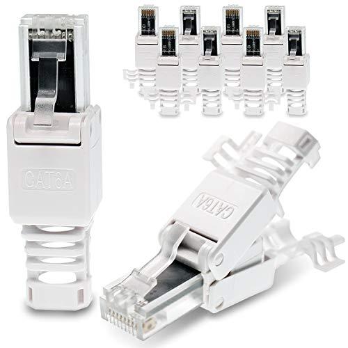 10 Stück Netzwerkstecker werkzeuglos CAT6A RJ45 LAN UTP Kabel Stecker ohne Werkzeug werkzeugfrei CAT6 CAT5 CAT7 Verlegekabel Patchkabel Netzwerkkabel Toolless Modular Plug Connector Crimpstecker