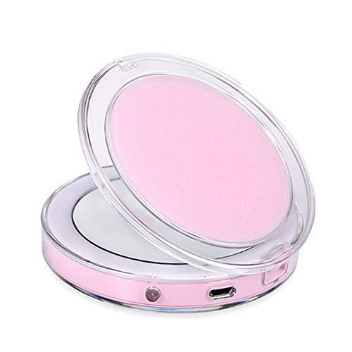 YQQWN opvouwbare slimme sensor vullen licht led make-up spiegel, 3X vergroting oog make-up spiegel, USB opladen zak spiegel