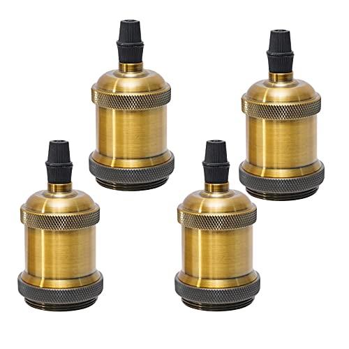 Sevenpers Portalámparas Vintage E27, 4 piezas Casquillos para Bombillas Adaptadores de Portalámparas Cerámica Edison retro lámpara, para Hogares Oficinas Bares Restaurantes (Latón antiguo)