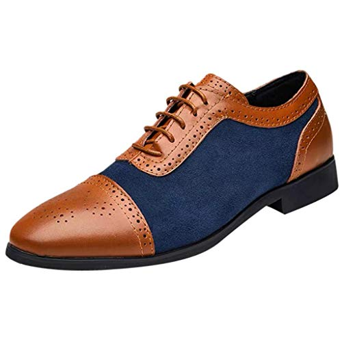 CixNy Herren Anzugschuhe Oxford, Lederschuhe Derby Business Casual Britischer Stil Hochzeit Schnürhalbschuhe Schwarz Blau Gelb 38-48 (Blau, 41)
