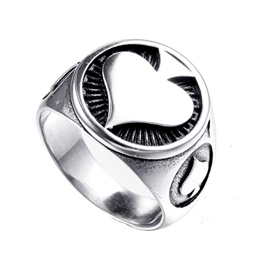 TnSok Simple Stainless Steel Men's Titanium Steel Punk Retro Ring Playing Card Personality Ring Handsome Ring (Color : Silver, Size : 10)