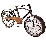 gotor® 置き時計 自転車型 6インチ おしゃれな 目覚まし時計 アンティーク 風 メタリック インテリア (A)