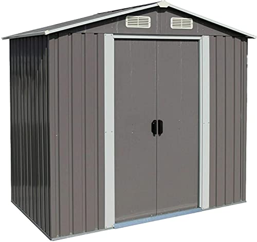 6 X 4 FT Outdoor Storage Shed Steel Storage Tool House with Sliding Door and Vents for Backyard Garden Yard Gray