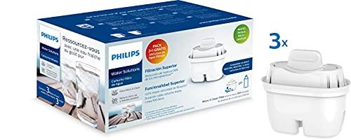 Phillips - AWP211 - Filtro de agua Micro X Clean, Cartuchos para filtración de agua, Compatible con jarras Philips y principales marcas, cartucho Oval - Pack 2+1