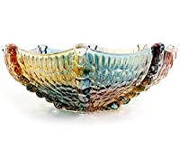 EWEIGEER 10.7-inch High-Grade Crystal Glass Colorful Fruit Candy Snack Bowl,Art Glass Bowl Flower-shaped,Cool Design