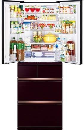 三菱470L6ドアノンフロン冷蔵庫置けるスマート大容量クリスタルブラウンMR-WX47D-BR