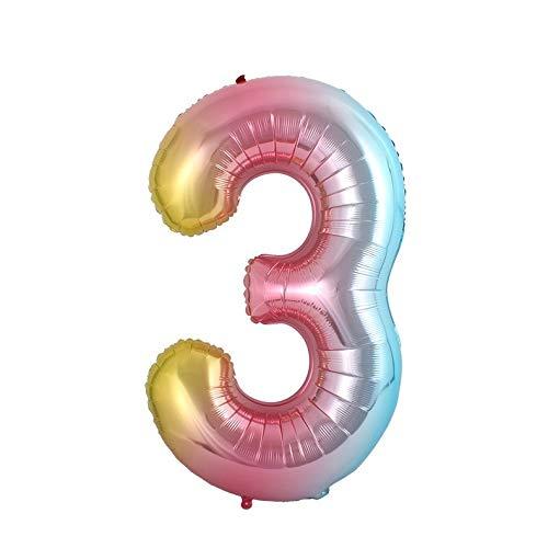 CCD 100CM Gold Rosa Regenbogen Folienballon MEGA Zahlen 3 Heliumerfüllung (3)