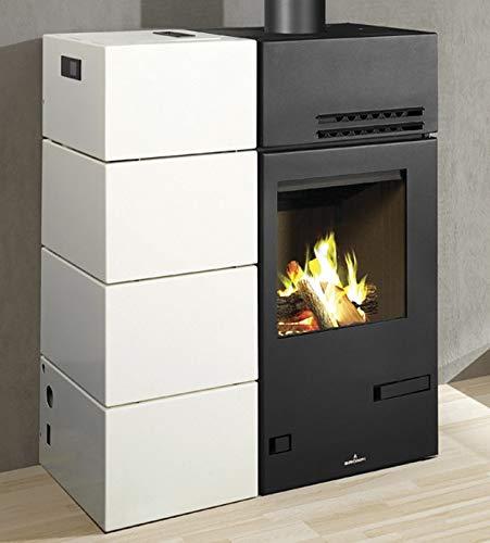 Bronpi – Estufa mixta de leña y pellets, 10,6 kW, modelo Carol Mixta, color negro y blanco