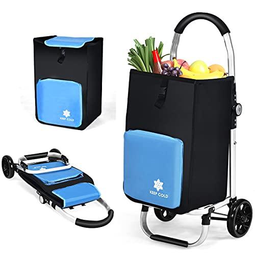 RELAX4LIFE Einkaufstrolley 53 Liter klappbar, Einkaufsroller mit Kühlfach & 2 Haken & Abnehmbarer Tasche, Einkaufstasche auf Rollen, Handwagen bis 50 kg belastbar, Einkaufswagen wasserdicht, blau