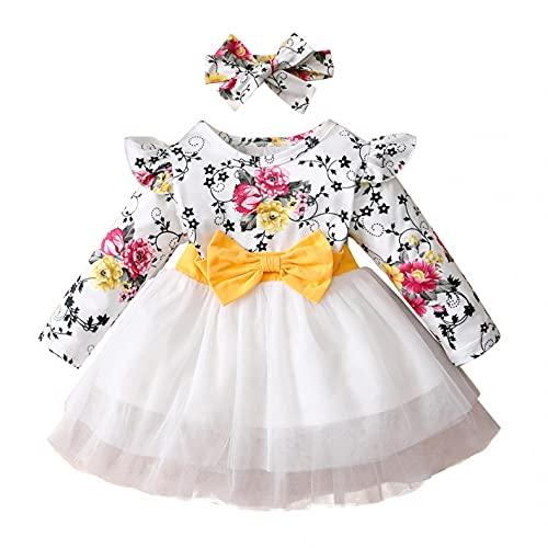 Newborn Toddler Kids Girls Tulle Tutu Princess Dress Clothes Long Sleeve Floral Ruffle Printed Romper Pullover Top + Headband