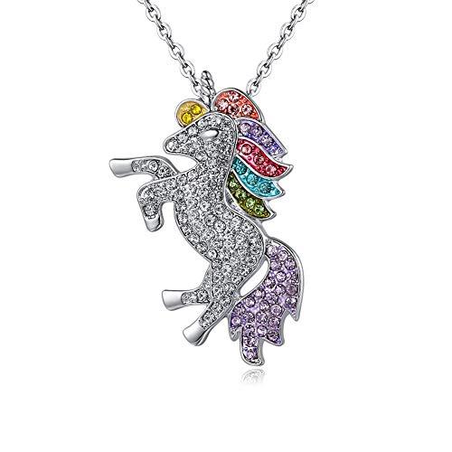 Collana unicorno, ciondolo arcobaleno ragazza catena d'argento regalo unicorno donna, collana unicorno in lega placcata argento, regalo per bambini / Natale / commemorativo(Argento)