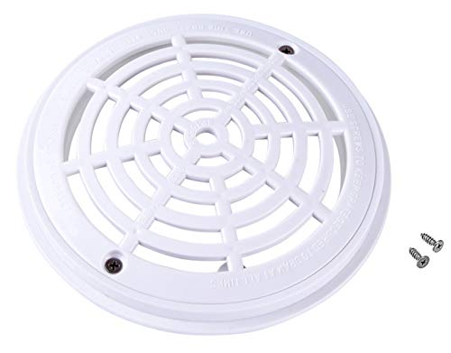 HapWay 8 Inch in Outer Diameter Universal White Round Swimming Pool Main Drain Suction Cover Replacement with Screws, Fit for in-Ground Swimming Pools Accessary