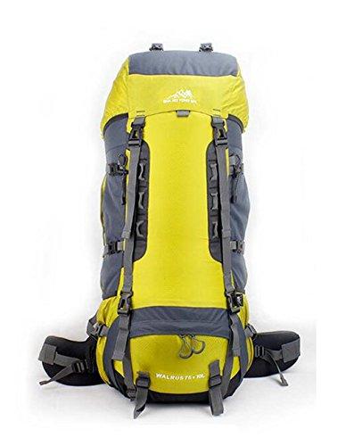 Outdoor A Sac à Dos randonnée Sac à Dos Sac à Dos 70L Alpinisme Sac big Bag Hommes et Femmes Sports Voyage Ensemble Sac à Dos de randonnée Loisirs (Couleur: Jaune, Taille: 75L)
