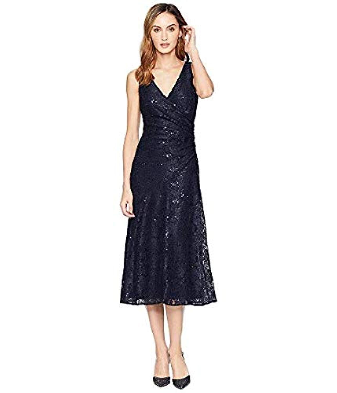 [LAUREN Ralph Lauren(ローレンラルフローレン)] レディースウェア?ジャケット等 Grace Floral Scallop Lace Castina Sleeveless Day Dress Navy/Navy Sequin US 2 (XS) [並行輸入品]