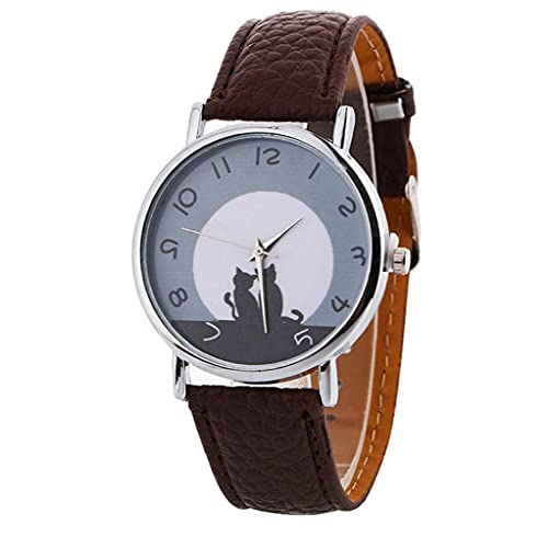 FeelMeet Reloj de Las Mujeres de Moda Linda del Modelo del Gato Reloj de Cuarzo analógico con PU Multi usos del brazal - Brown