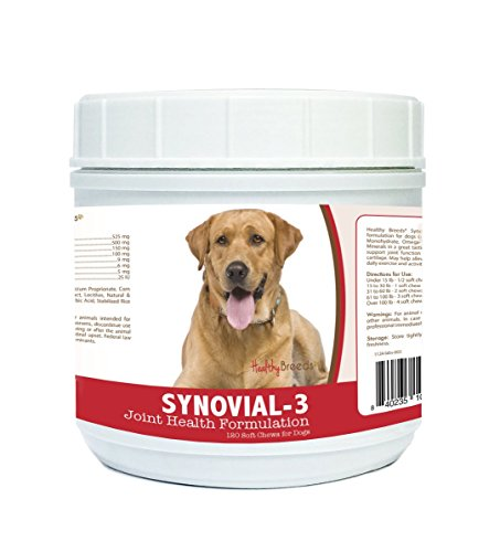 Healthy Breeds Synovial-3 Dog Hip & Joint Support Soft Chews For Labrador Retriever. Light Brown - Over 200 Breeds - Glucosamine Msm Omega & Vitamins Supplement - Cartilage Care - 120 Ct