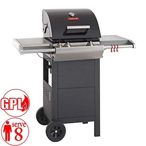 barbecook Barbecue Impuls 3.0 Ceramic Black 2239530000 Barbecue a Gas 2 bruciatori da 7.6kw e fornello Laterale