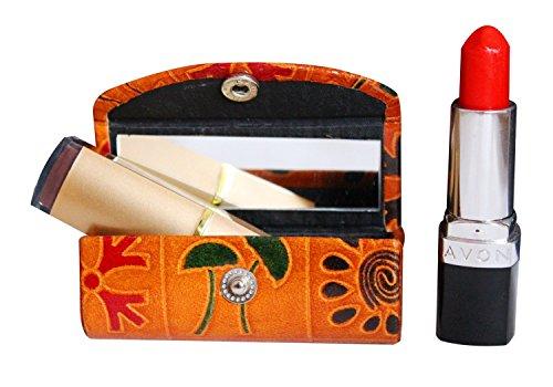 Estuche de piel para pintalabios y cosméticos para el bolso, suave y duradero, con espejo, color marrón