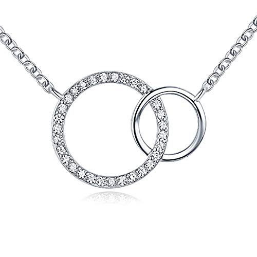 White Gold Cz 2 Interlocking Circle Open Dainty Double Circle Pendant Necklace Jewelry For Women and Girls, Mom Daughter Sister Niece Granddaughter Birthday Christmas Mother's Day Valentines Day Gifts