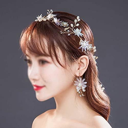 WALNUTA Gold Headbands Pearl Crystal Wedding Hairband Mujeres Accesorios para el Cabello para bridales Hecho a Mano Horquillas Pendientes Set Regalo