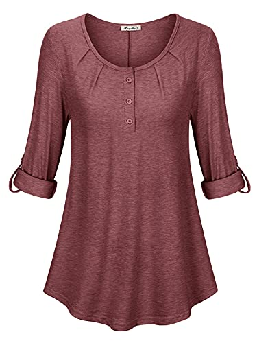 Moyabo Plus Size 3/4 Sleeve Tops for Women Women Casual Tops Women's V Neck Tops 3/4 Sleeve Chiffon Blouses Casual Shirts Tops Red XX-Large