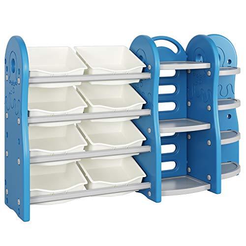 Homfa Kinderregal mit 8 Kunststoffkästen Spielzeugregal Bücherregal Aufbewahrungsregal Toy Organizer für Spielzeug Regal, Multi-funktional 152 × 36 × 91 cm