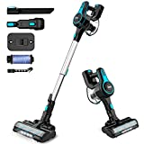 INSE Cordless Vacuum Cleaner, 6 in 1 Powerful Suction Lightweight Stick Vacuum with 2200mAh Rechargable Battery, Up to 45min Runtime, for Home Furniture Hard Floor Carpet Car Pet Hair-N5 Light Blue