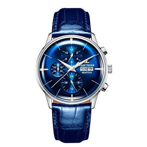 REEF TIGER Herren Uhr analog Automatik mit Leder Armband RGA1699-YLS