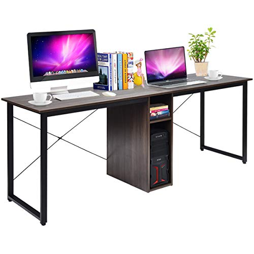 Tangkula 2-Person Double Computer Desk, Home Office Desk with Storage & Cabinet, Writing Desk with Spacious Desktop, X-Shaped Frame & Adjustable Foot Pads, Writing Table for Home Office (Brown)