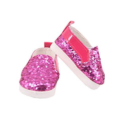 Aeromdale Puppenschuhe Pailletten Schuhe für 45,7 cm große amerikanische Puppen Mädchen 43 cm große Puppengeschenke – Rose Rot – 1 Paar