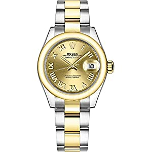 Fashion Shopping Women's Rolex Lady-Datejust 28 Steel and Gold Roman Numeral Dial Watch 279163