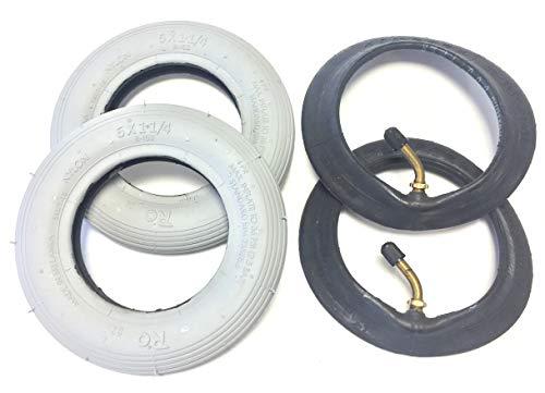 Ro Rollstuhlreifen 2 Stück 6x1 1/4 (150x30), grau, 2 Stück Schlauch mit Winkelventil in Fahrtrichtung 90°/45°, Reifen mit Rillenprofil Leichtlauf, Luftdruck 36 PSI, passend für manuellen Rollstuhl