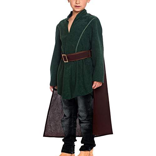 Elbenwald Kostüm für Kinder Legolas Elben Krieger mit Cape 3 teilig für Herr der Ringe Fans grün braun - 140
