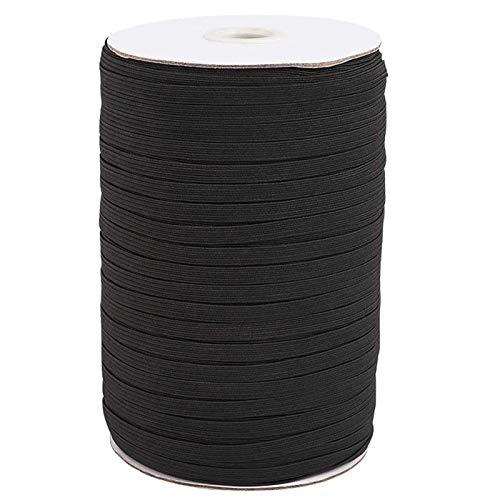 1/4 Inch Elastic Band for Sewing,6mm Elastic 200 Yards Length Braided Elastic Band Elastic Cord Heavy Stretch High Elasticity Knit Elastic Band for Sewing Crafts DIY,Bedspread,Cuff (Black)
