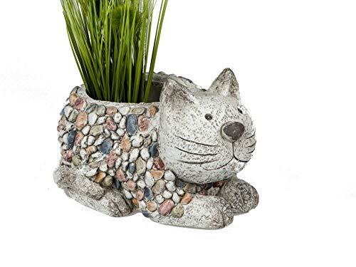 Formano Gartenfiguren Pflanzgefäß Katze in Kieselstein Optik aus wetterfestem Magnesia (bunt - Katze Kübel)