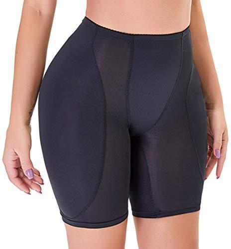 YINGKE Damen Miederpants Gepolstert Po Push Up Butt Lifter Miederhose Kontrolle Shapewear Figurformender (4XL, Niedrige Schwarz)