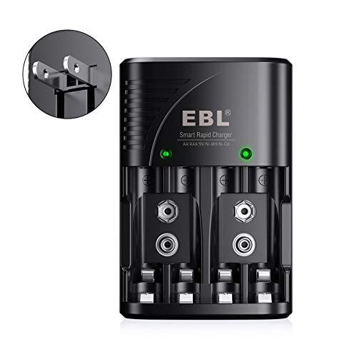 EBL Smart Rapid AA AAA Charger for AA AAA 9V Rechargeable Batteries Ni-MH Ni-CD Rechargeable Batteries