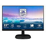 Philips 223V7QHAB Monitor 22 'LED IPS Full HD, 1920 x 1080, 5 ms, 3 Side Frameless, Cornici Sottili, Flicker Free, HDMI, VGA, Attacco VESA, Audio Integrato, Nero
