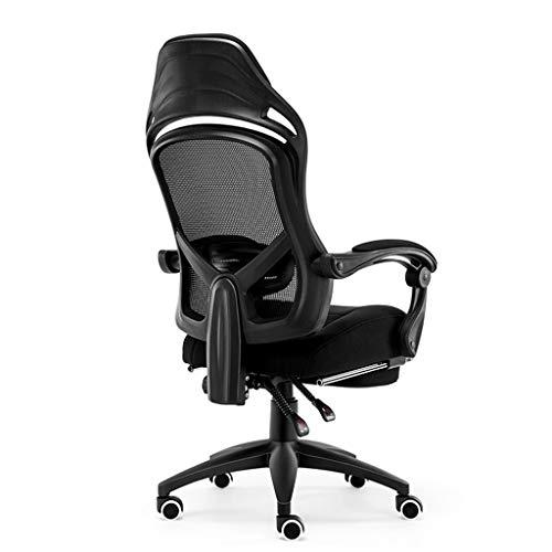 Chaise de Bureau Ergonomique Chaise de Jeu e-Sport Rotation à 360 ° avec Support Lombaire Chaise d'ordinateur Paresseux pour ménage LI Jing Shop (Couleur : Noir, Taille : Foot Support)