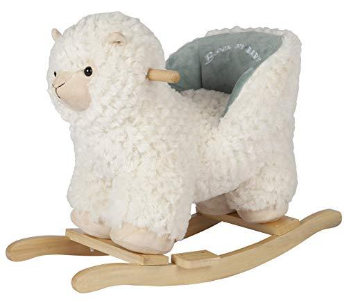 ROCK MY BABY Plüsch Schaukeltier Lama, Schaukelpferd Holz, Kinder Schaukelstuhl, Schaukeltier Baby, Kinderschaukel Indoor, Baby Schaukel ab 1 Jahr, Schaukel Spielzeug für Babys und Kleinkinder