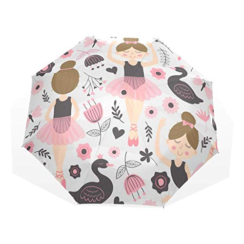 Trushop Automatischer Regenschirm Cute Ballerina Girl Windproof Travel Umbrella Compact Folding Umbrella