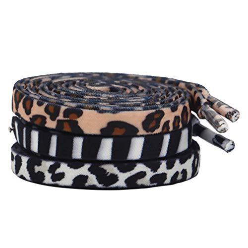 Amosfun 3 Pares de Cadarços Lisos Animal Zebra Leopardo Vaca Padrão Sapato Laço Cadarço Elástico Tira de Sapato Esportivo para Exterior