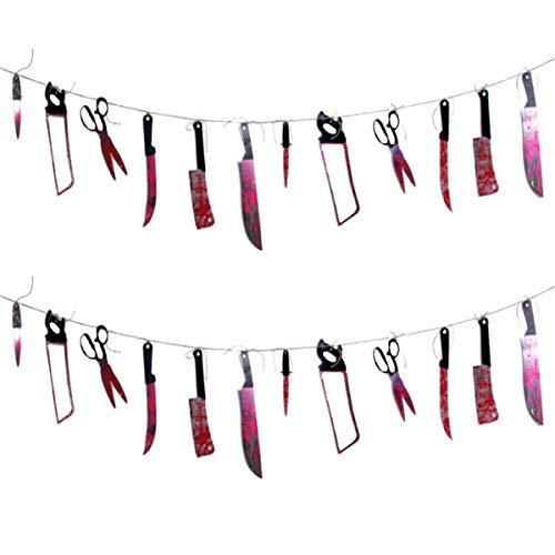 XONOR Banners de guirnaldas sangrientas de Halloween - Suministros de decoración de Fiesta de Vampiros Zombie de Halloween