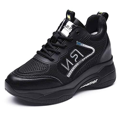 HLDJ Zapatillas De Deporte para Mujer Zapatillas Deporte Cuña Plataforma Tacón Alto Ocultas Zapatos Deportivos Caminar Cordones,Negro,EU36