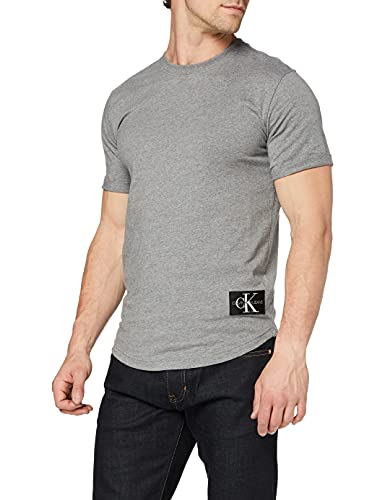 Calvin Klein Jeans Badge Turn UP Sleeve Camiseta, Mid Grey Heather, S para Hombre
