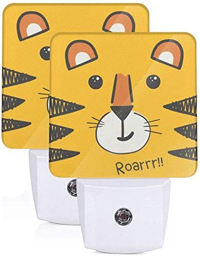 Paquete de 2 lámparas LED de luz nocturna con diseño de cabeza de tigre con impresión de atardecer a amanecer Auto Motion Senor para leer cuarto de baño, dormitorio, guardería, EU Jack